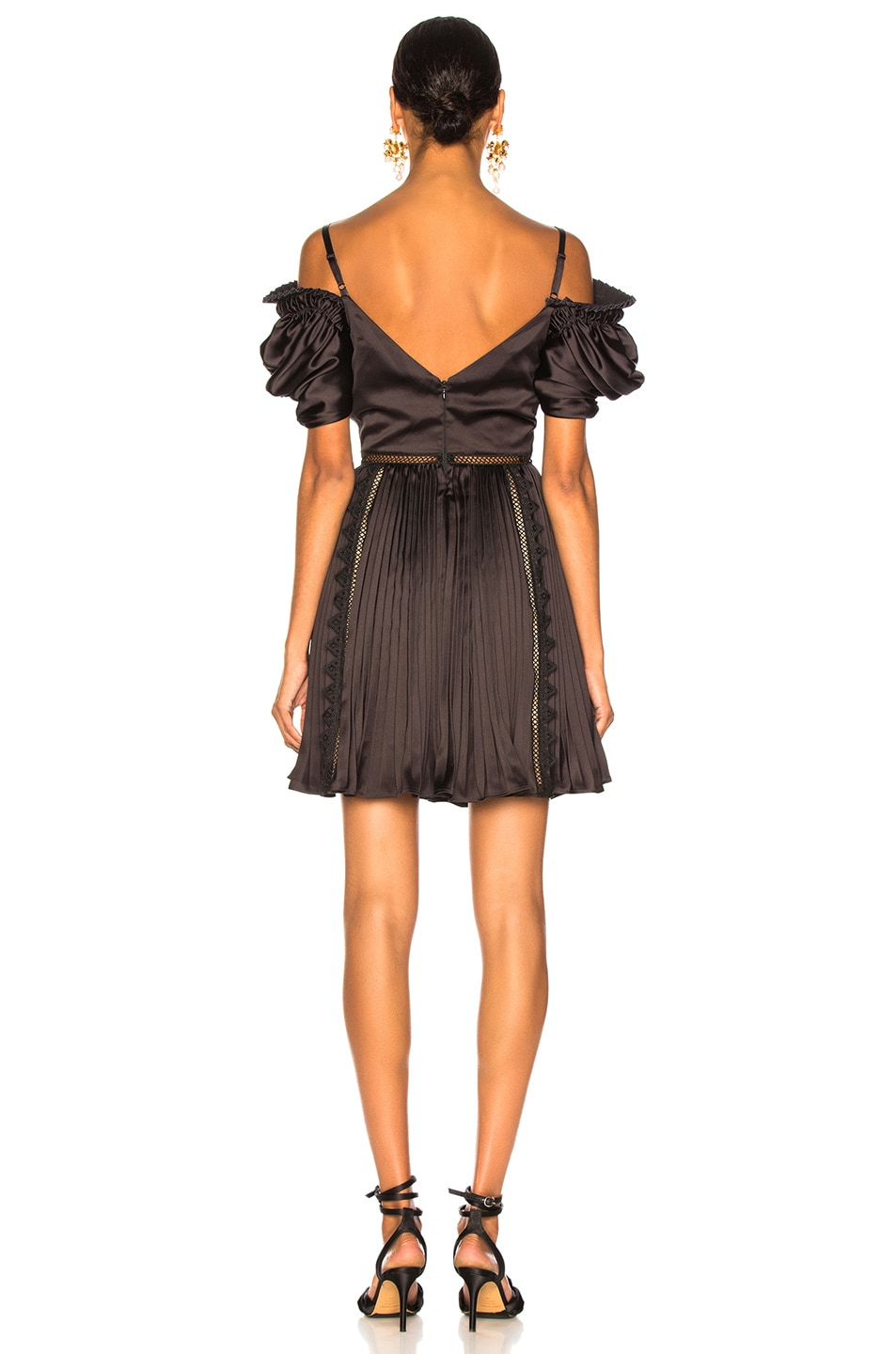 Image 3 of self-portrait Off Shoulder Mini Dress in Black