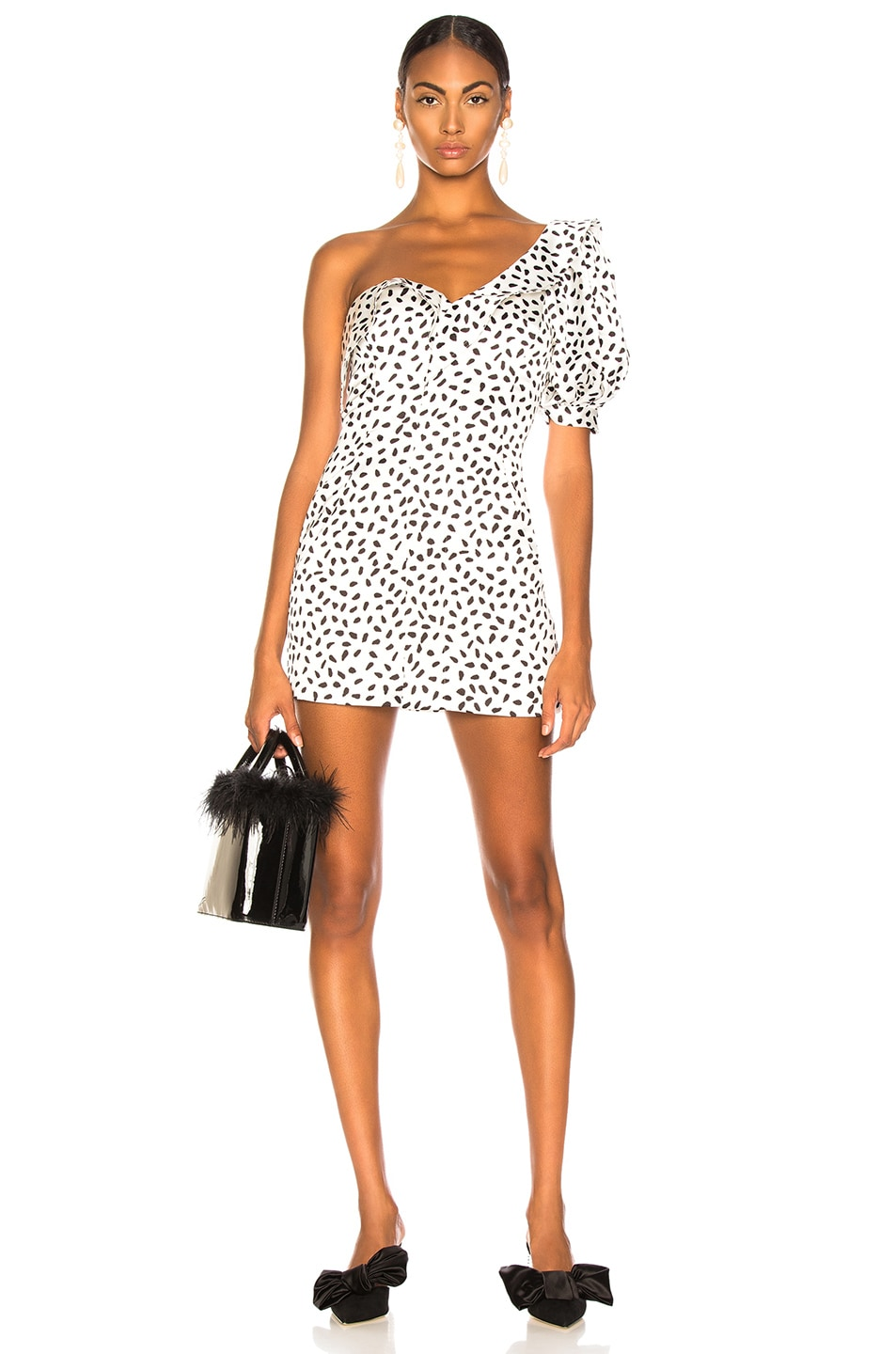 Image 1 of self-portrait Dot Printed Dress in Ivory & Black