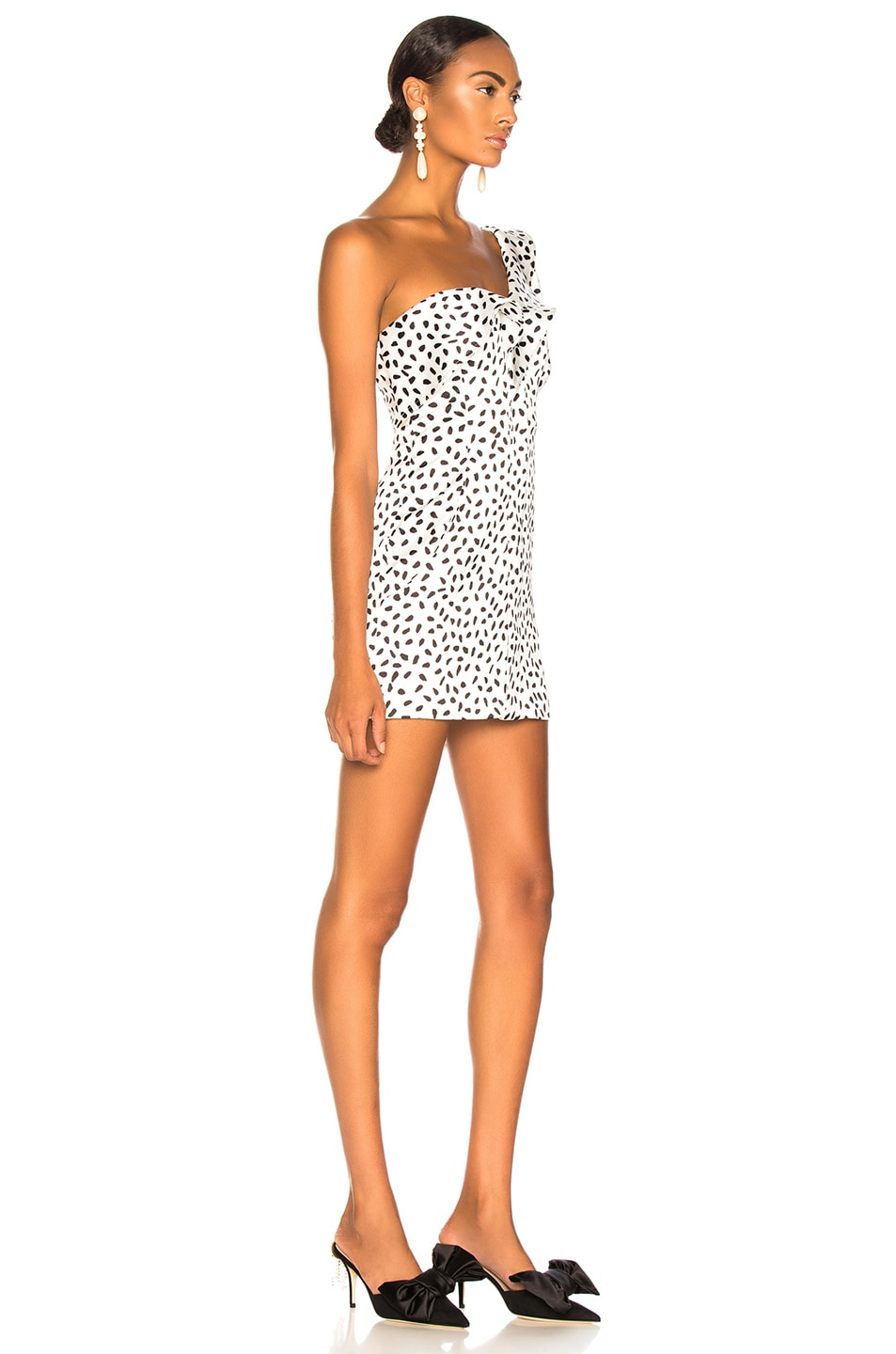 Image 2 of self-portrait Dot Printed Dress in Ivory & Black