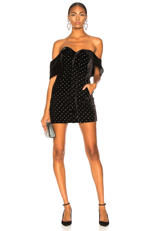Image 1 of self-portrait Off Shoulder Velvet Diamante Dress in Black