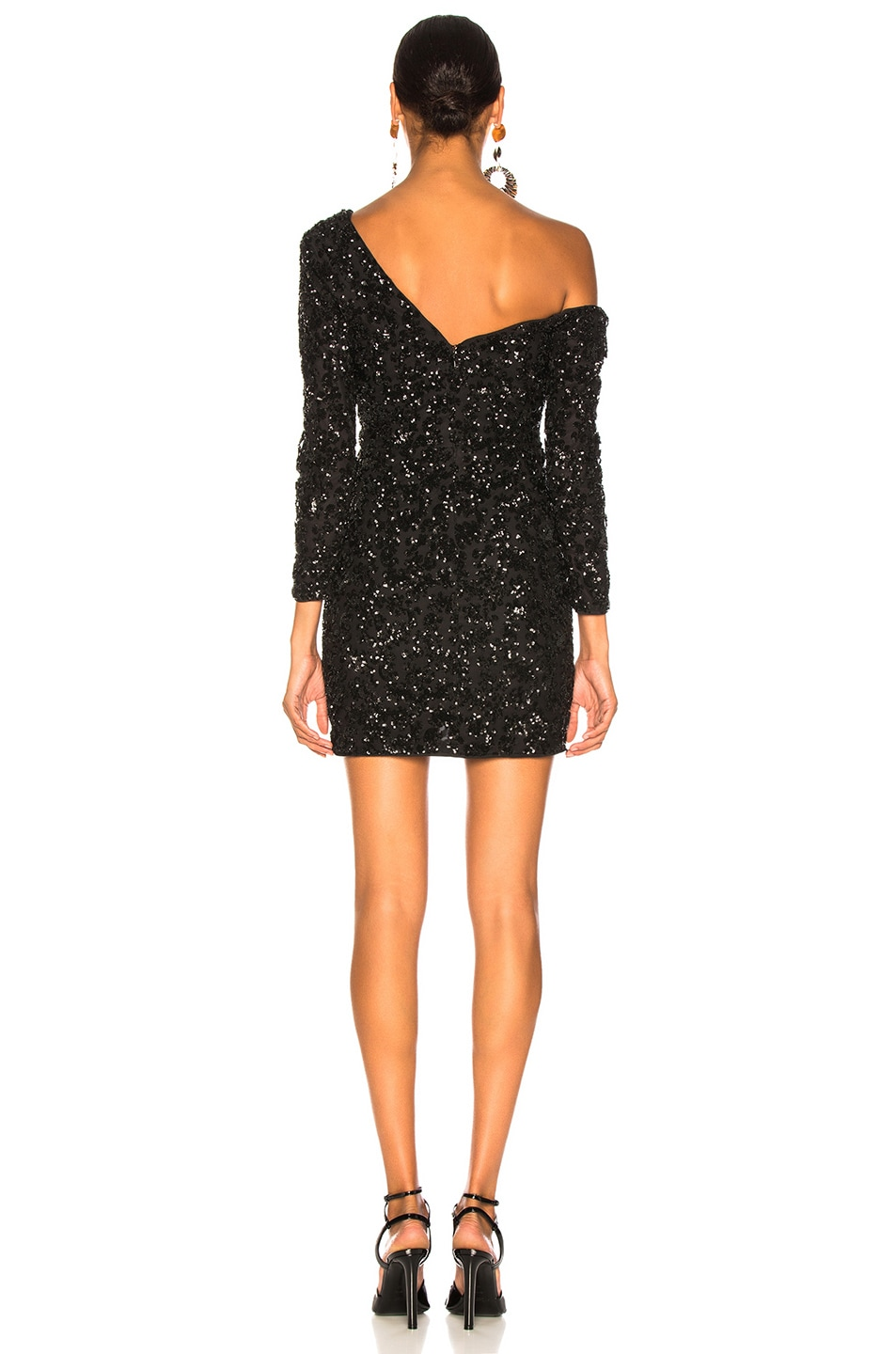Image 4 of self-portrait Sequin Ruffle Mini Dress in Black