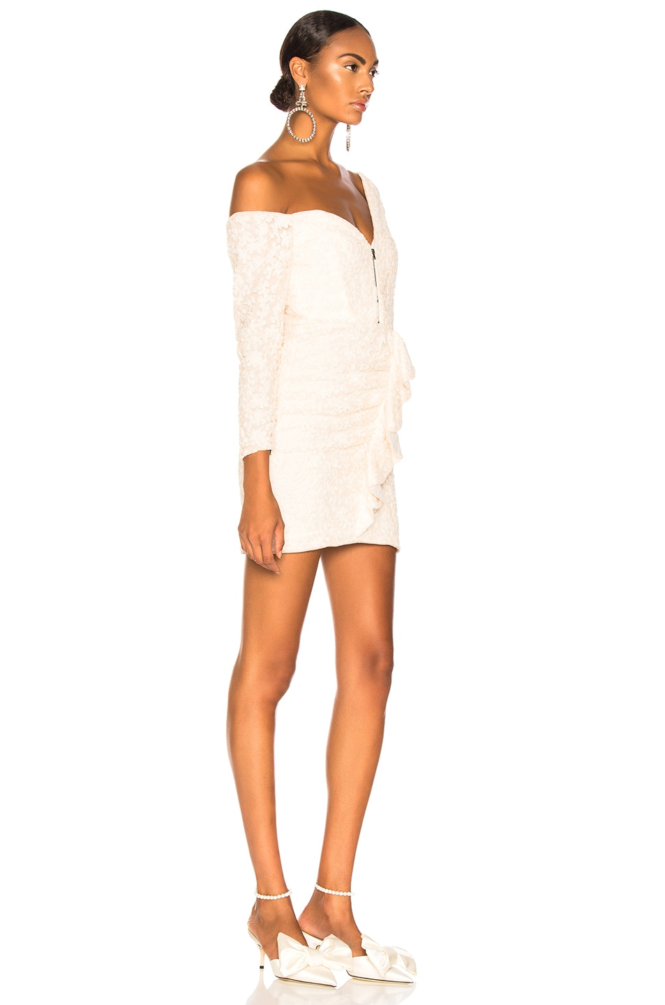 Image 2 of self-portrait Sequin Ruffle Mini Dress in Ivory