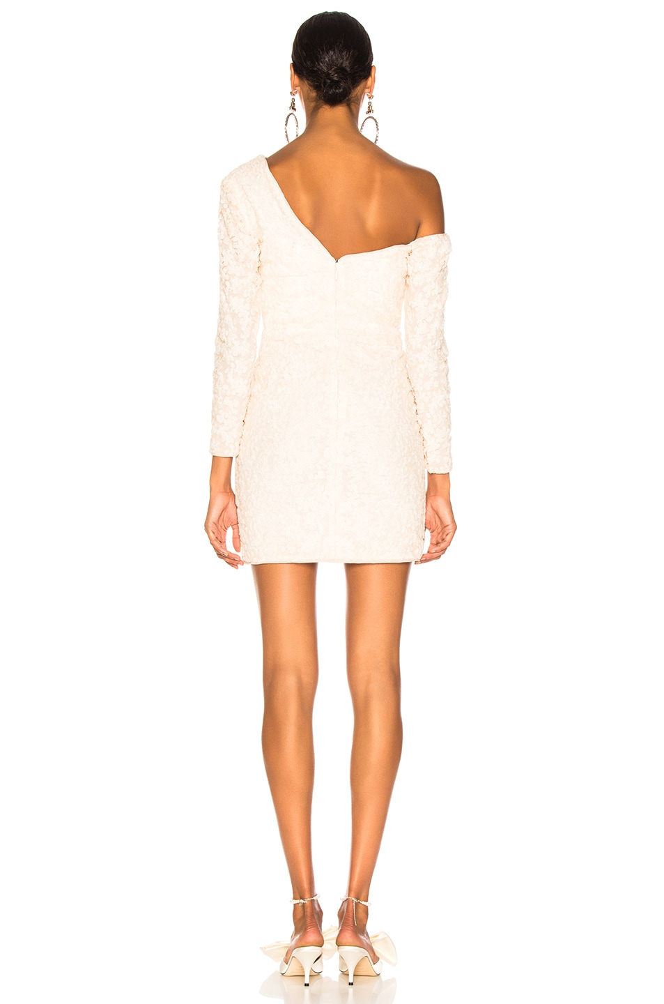 Image 4 of self-portrait Sequin Ruffle Mini Dress in Ivory