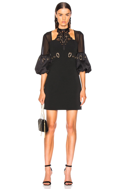 Image 1 of self-portrait Lace Halter Mini Dress in Black