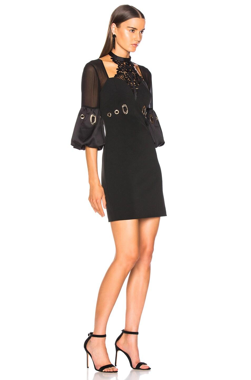 Image 2 of self-portrait Lace Halter Mini Dress in Black