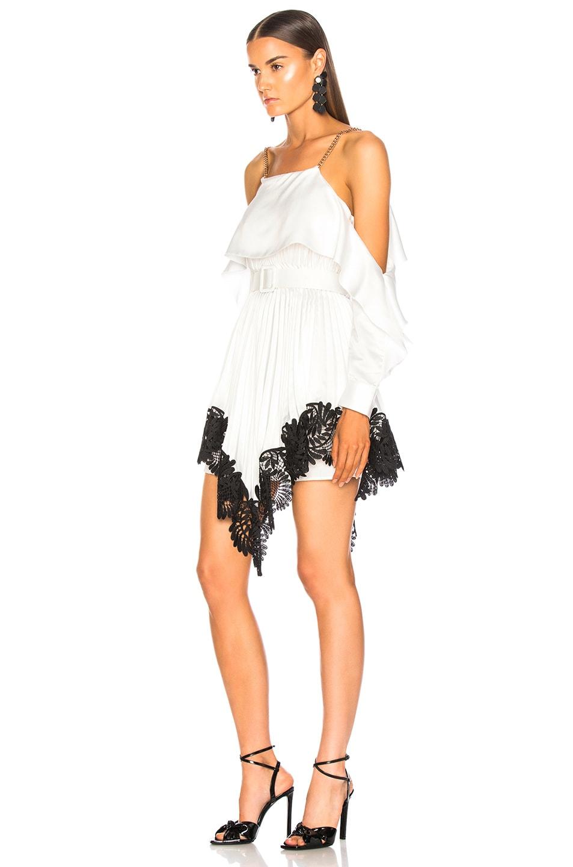 Image 3 of self-portrait Pleated Satin Mini Dress in Ivory