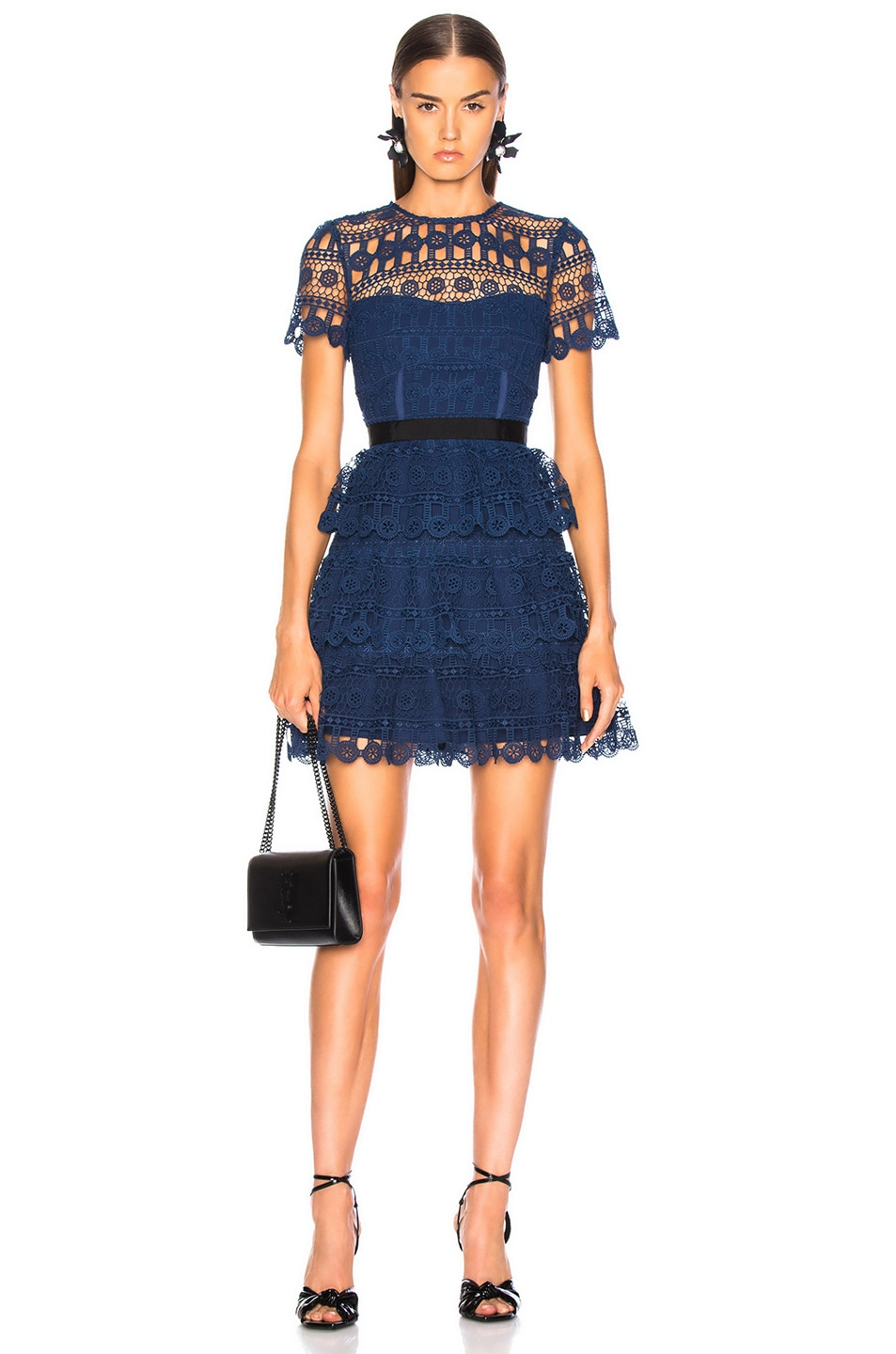 8664ab3abc67 Image 1 of self-portrait Tiered Guipure Mini Dress in Navy