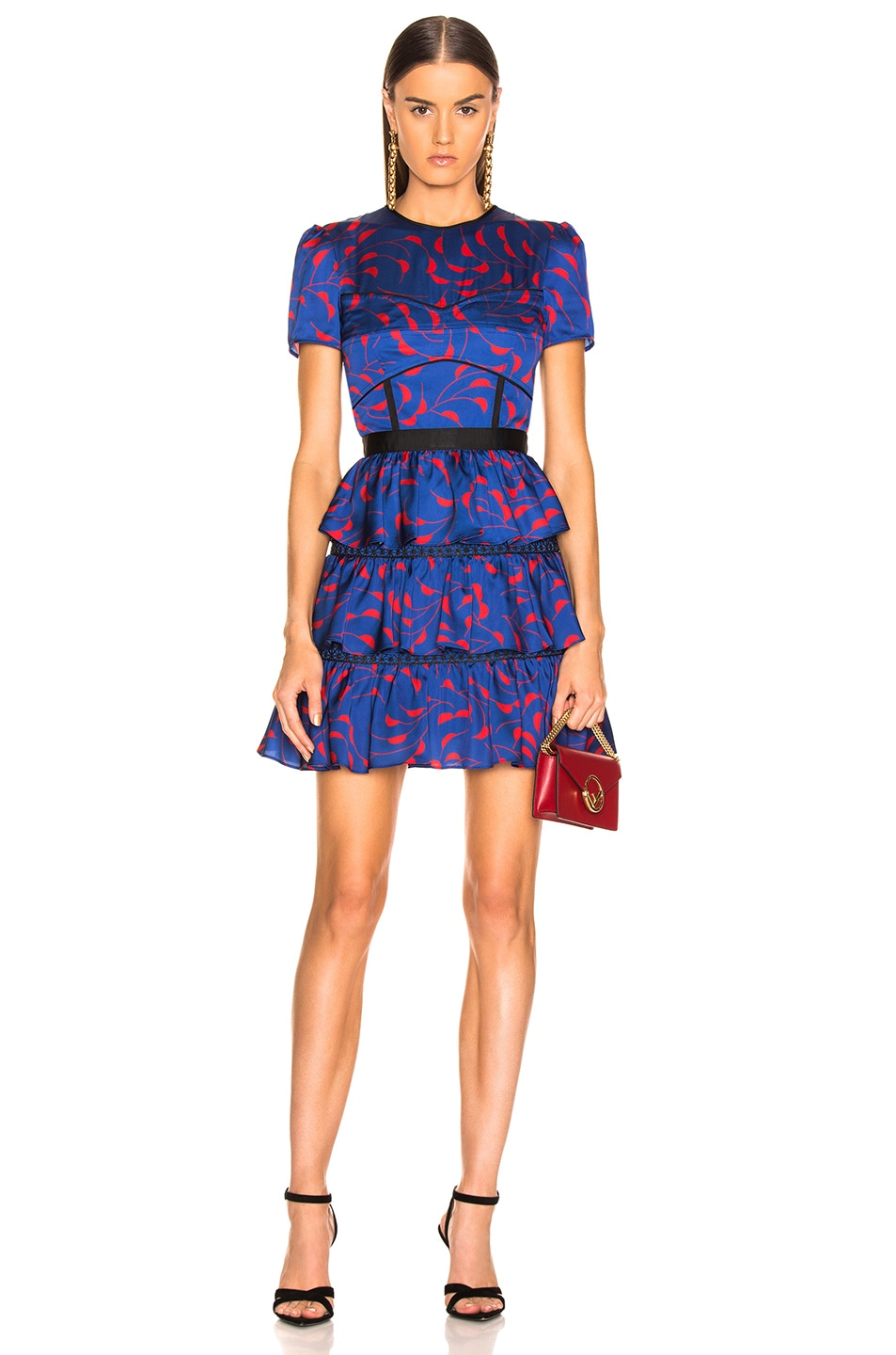 Image 1 of self-portrait Tiered Printed Mini Dress in Navy & Red
