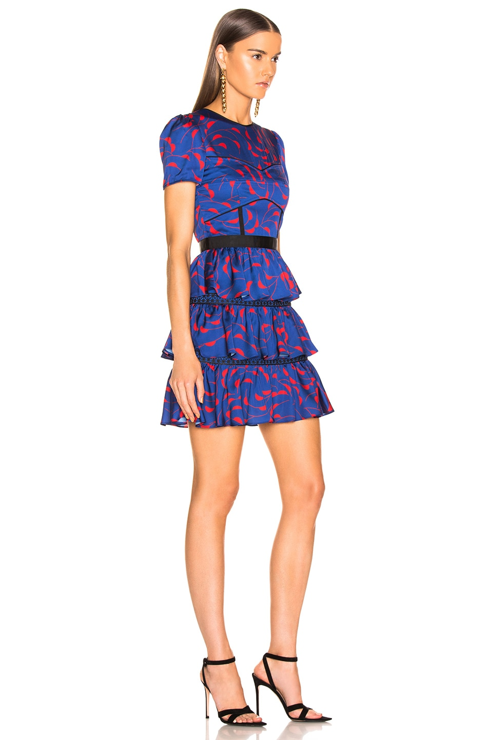 Image 2 of self-portrait Tiered Printed Mini Dress in Navy & Red