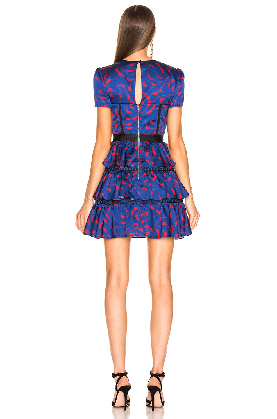 Image 3 of self-portrait Tiered Printed Mini Dress in Navy & Red