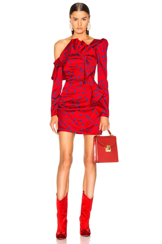 Image 1 of self-portrait Printed Off Shoulder Dress in Red & Navy