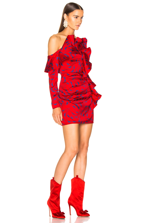 Image 2 of self-portrait Printed Off Shoulder Dress in Red & Navy