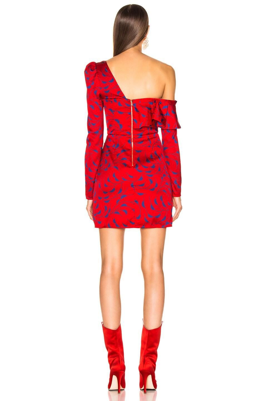 Image 4 of self-portrait Printed Off Shoulder Dress in Red & Navy