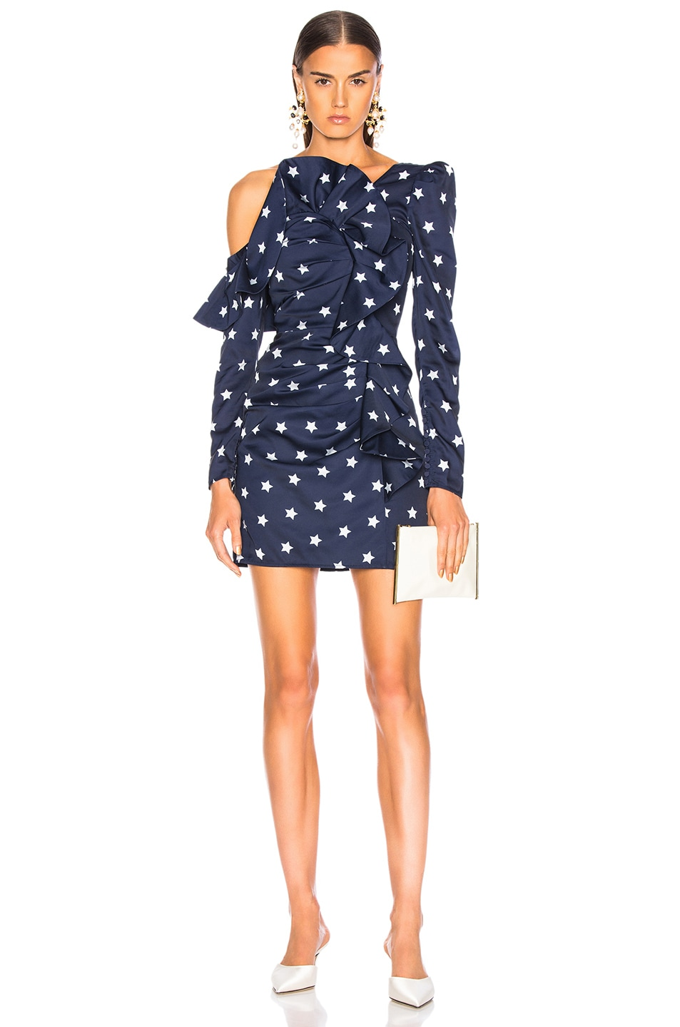 Image 1 of self-portrait Star Printed Off Shoulder Dress in Navy