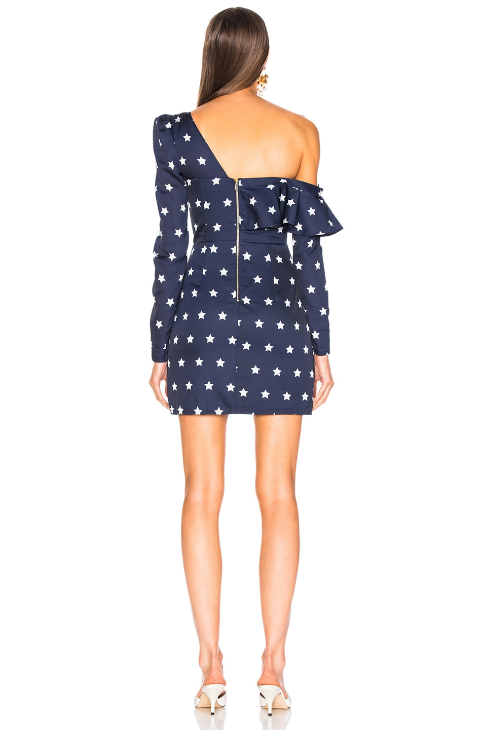 Image 4 of self-portrait Star Printed Off Shoulder Dress in Navy