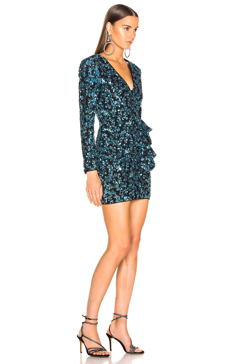 Image 2 of self-portrait Sequin Frill Mini Dress in Blue