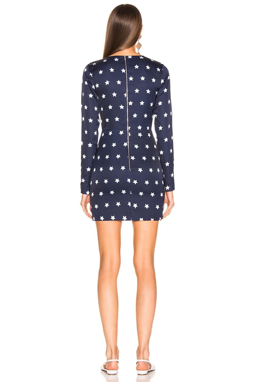 Image 4 of self-portrait Star Printed Long Sleeve Dress in Navy