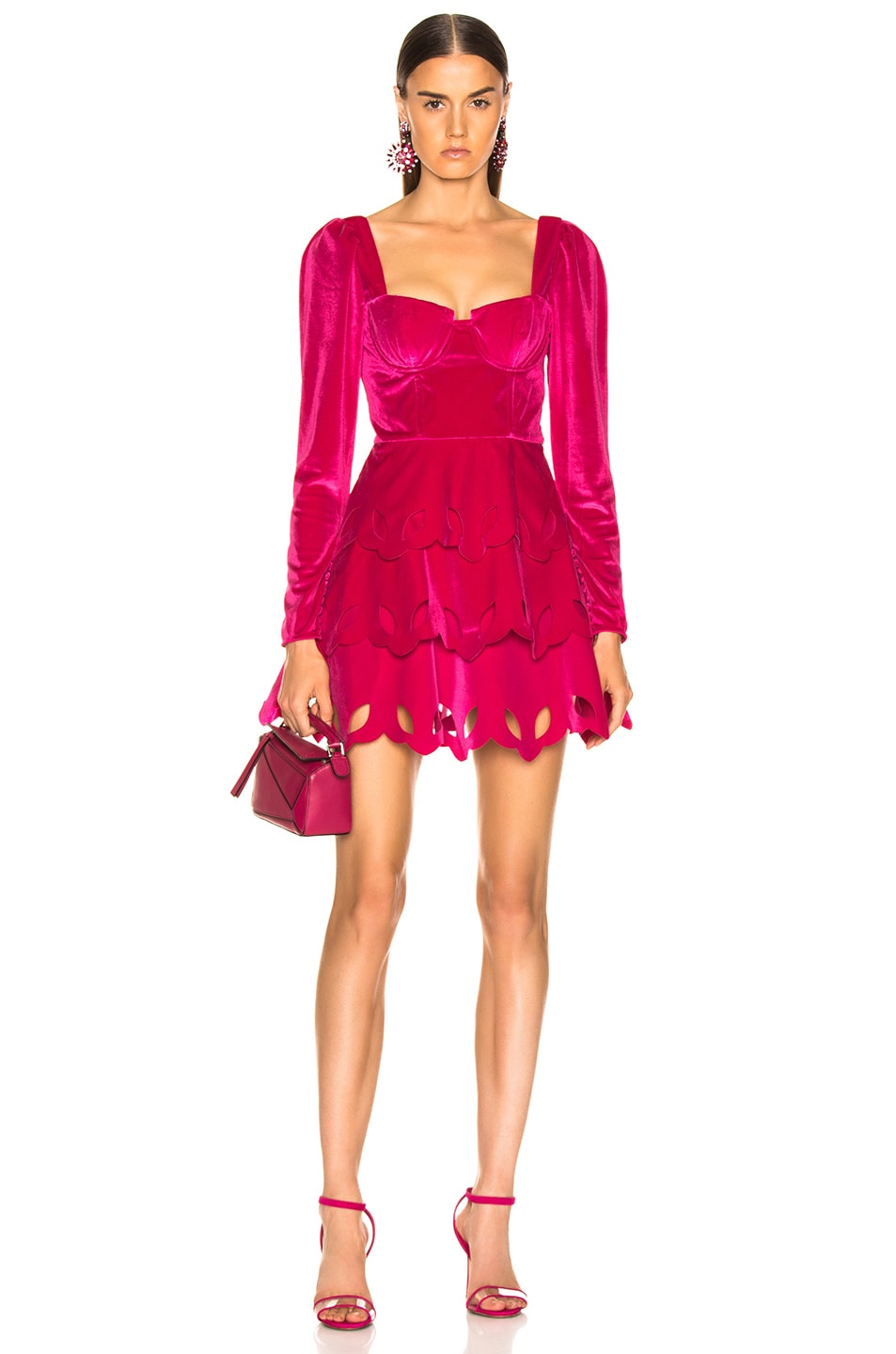 Image 1 of self-portrait Tiered Velvet Mini Dress in Fuchsia