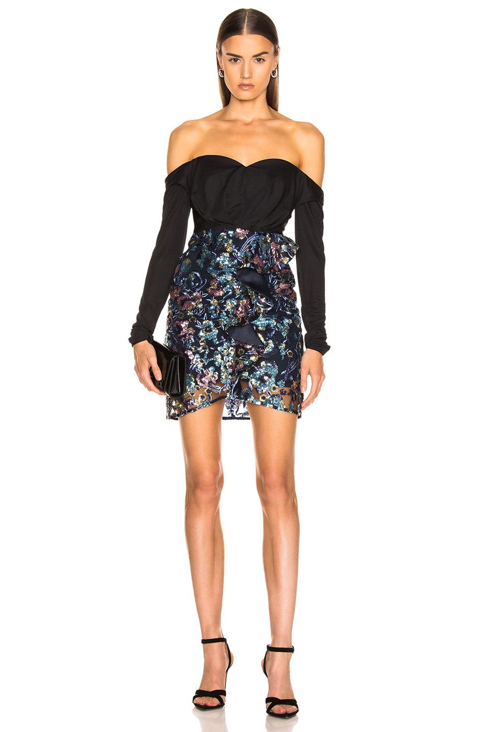 Image 1 of self-portrait Off Shoulder Floral Sequin Embellished Dress in Multi