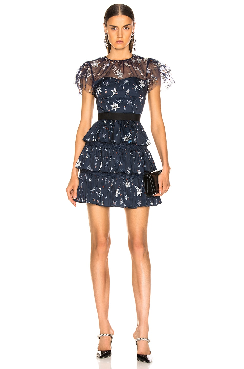 Image 1 of self-portrait Tiered Star Mesh Printed Mini Dress in Navy