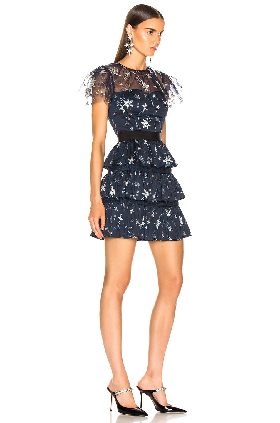 Image 2 of self-portrait Tiered Star Mesh Printed Mini Dress in Navy