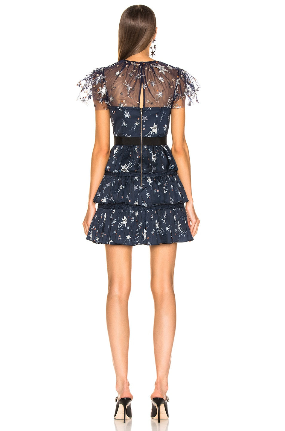 Image 3 of self-portrait Tiered Star Mesh Printed Mini Dress in Navy
