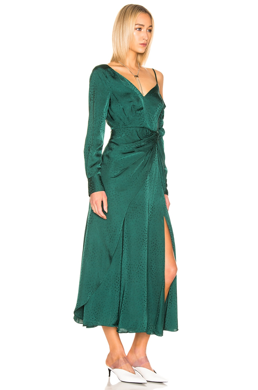 Image 2 of self-portrait Asymmetric Jacquard Dress in Green