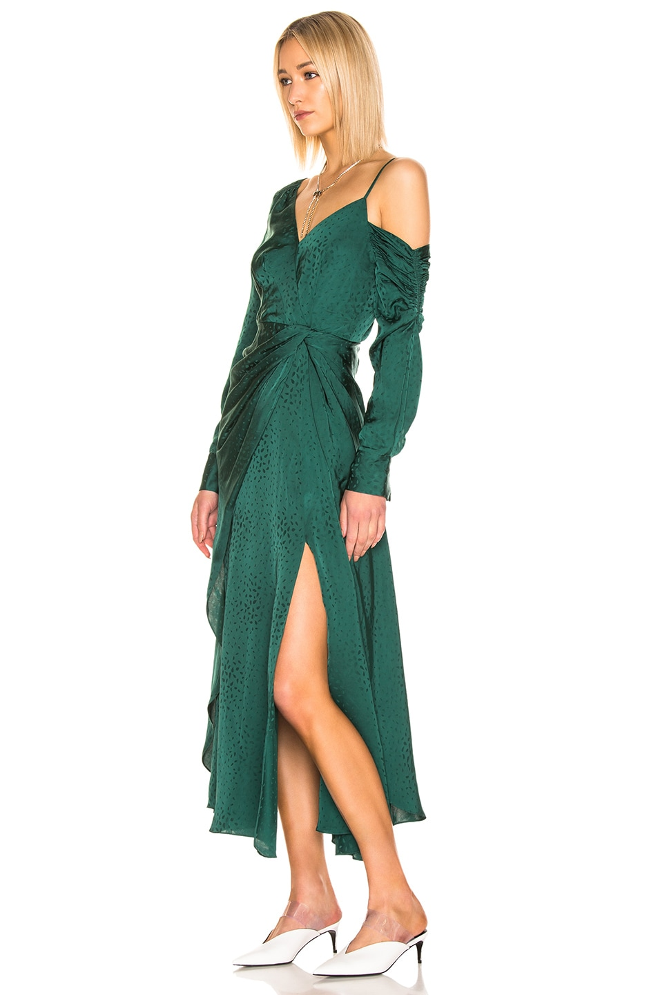 Image 3 of self-portrait Asymmetric Jacquard Dress in Green