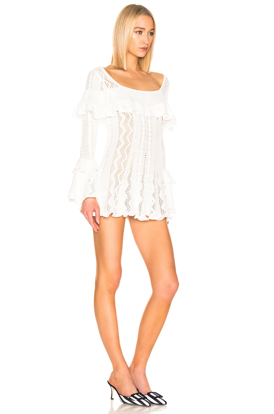 Image 2 of self-portrait Flared Knit Tunic in Ivory