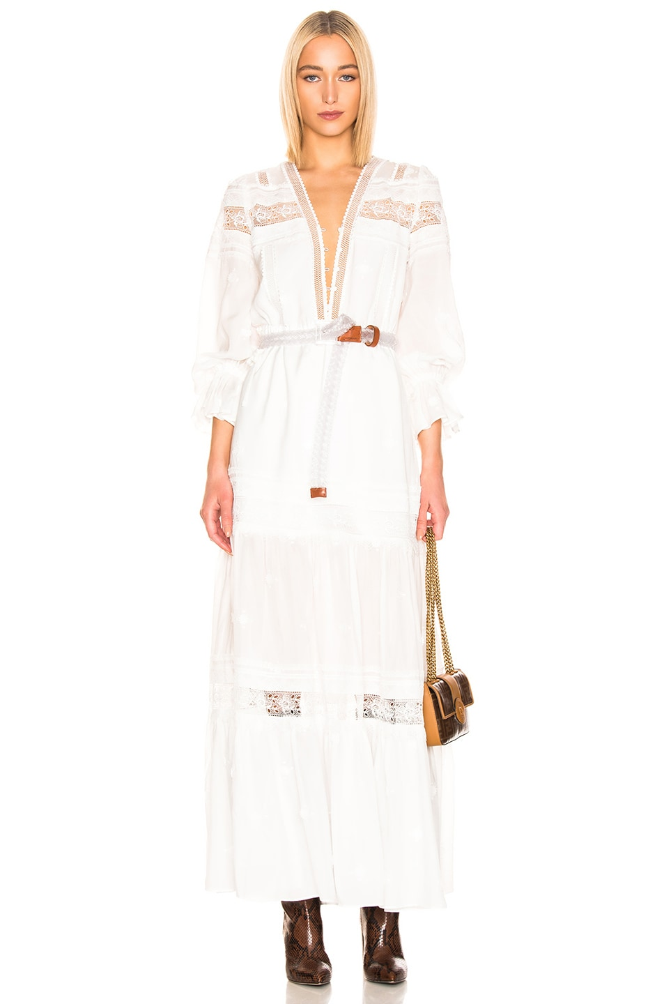 Image 1 of self-portrait Plumetis Maxi Dress in Ivory