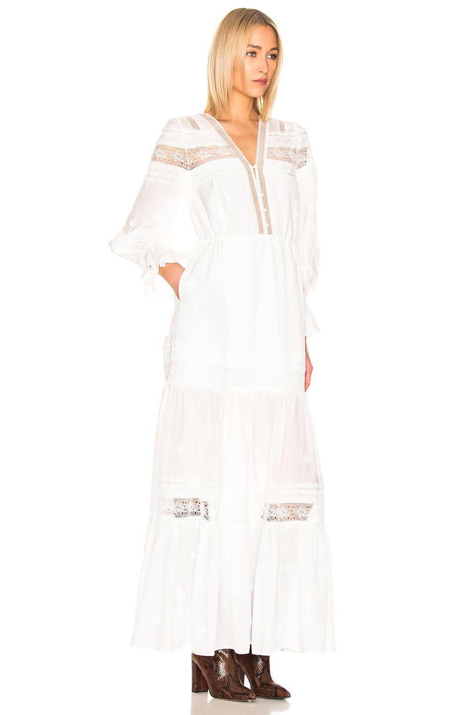 Image 2 of self-portrait Plumetis Maxi Dress in Ivory