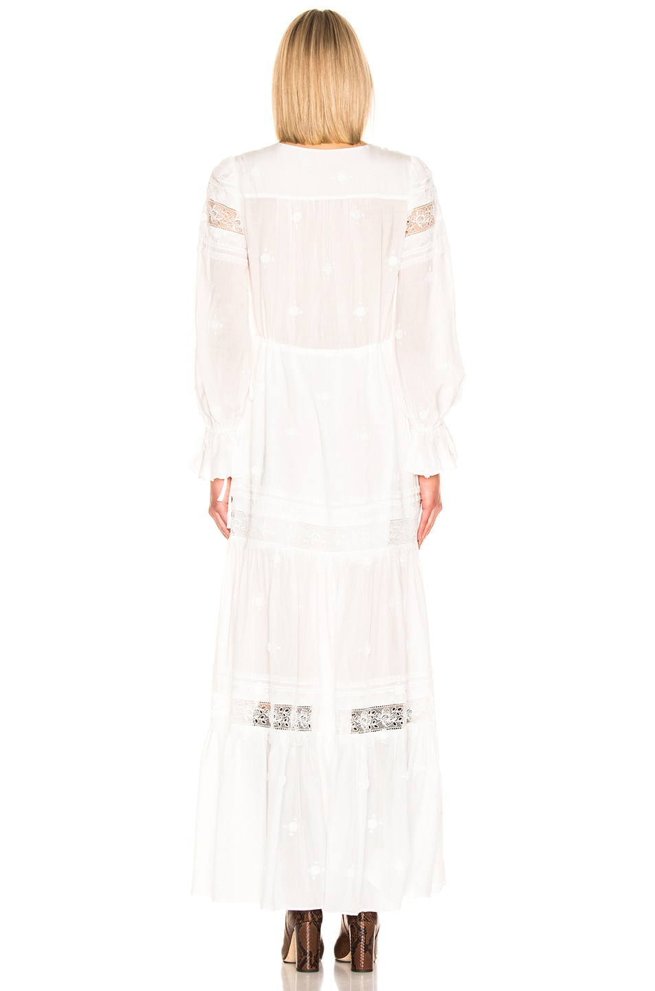 Image 3 of self-portrait Plumetis Maxi Dress in Ivory