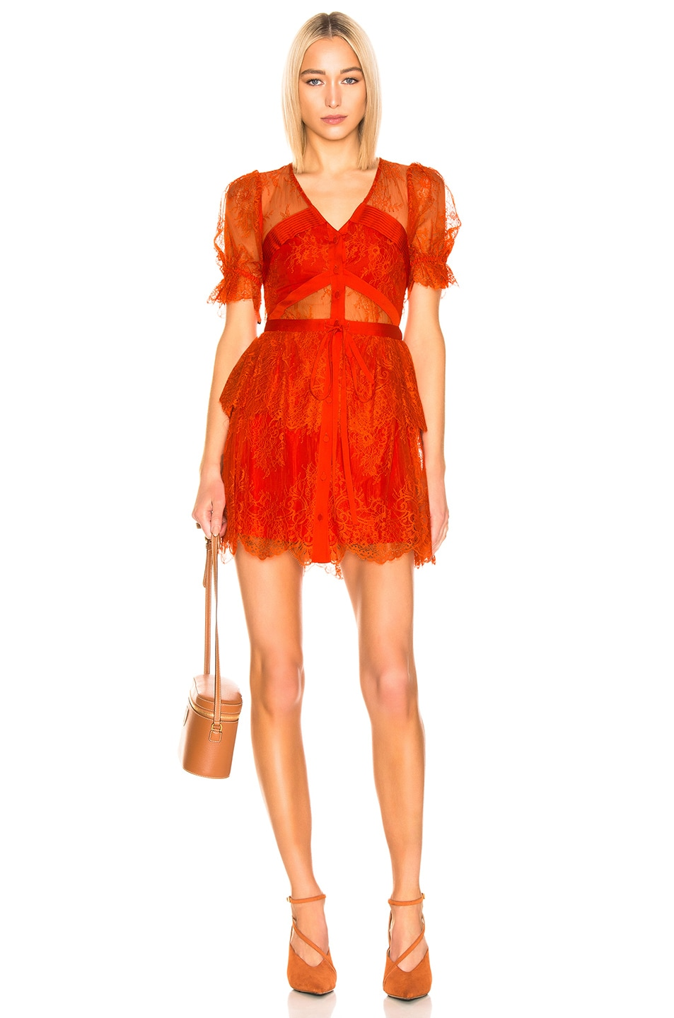 Image 1 of self-portrait Floral Fine Lace Mini Dress in Bright Red