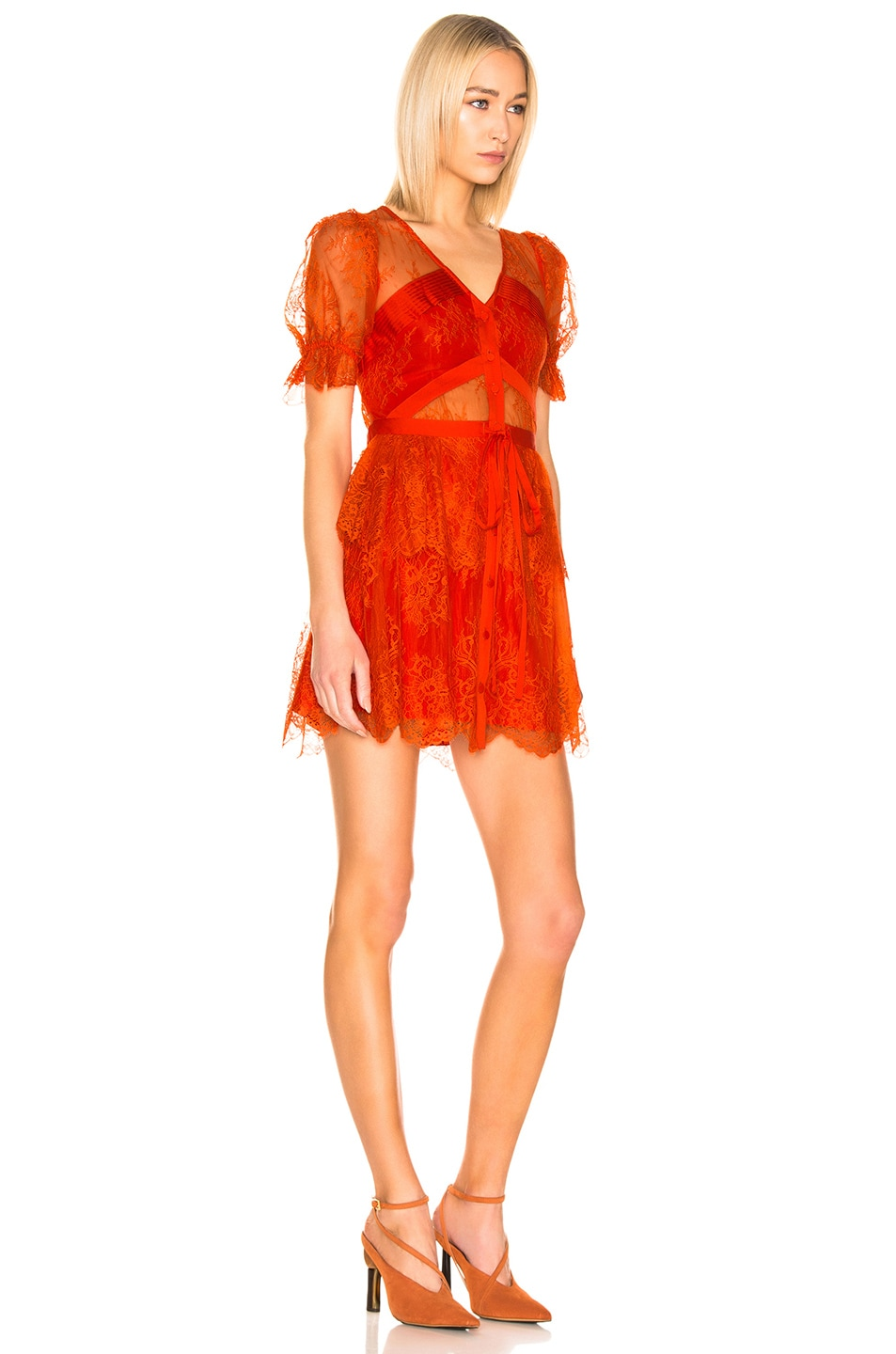 Image 2 of self-portrait Floral Fine Lace Mini Dress in Bright Red