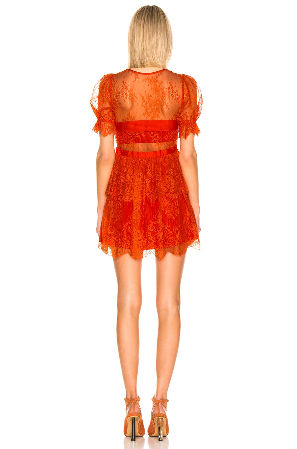 Image 3 of self-portrait Floral Fine Lace Mini Dress in Bright Red