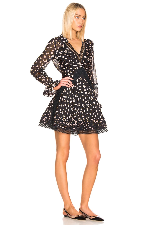 Image 2 of self-portrait Twist Front Ditsy Dress in Black
