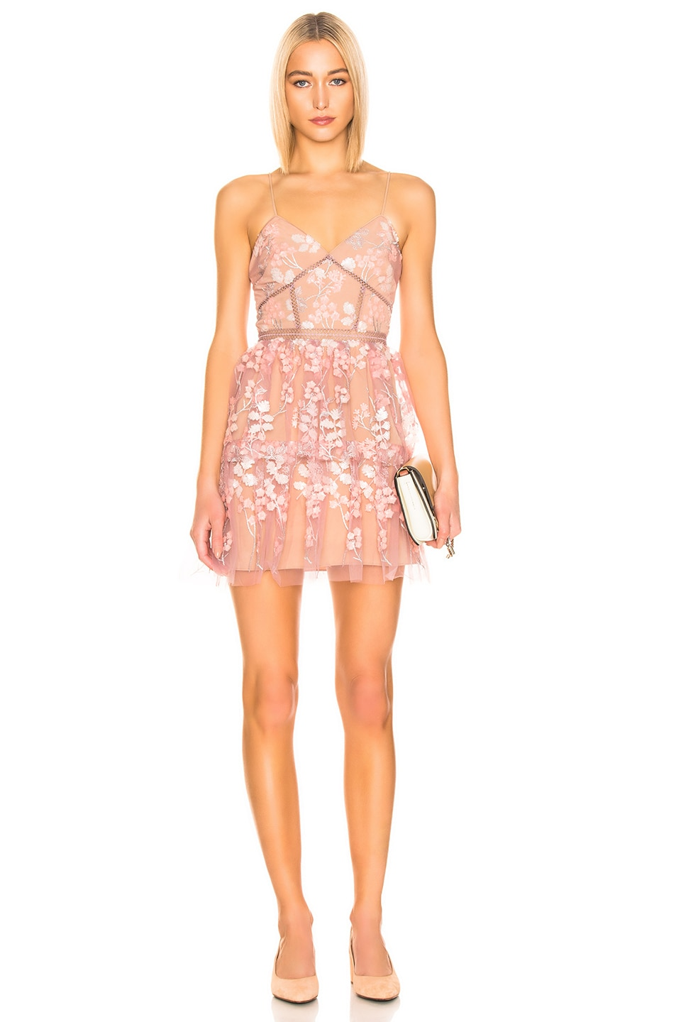 Image 1 of self-portrait Floral Embellished Mini Dress in Pink