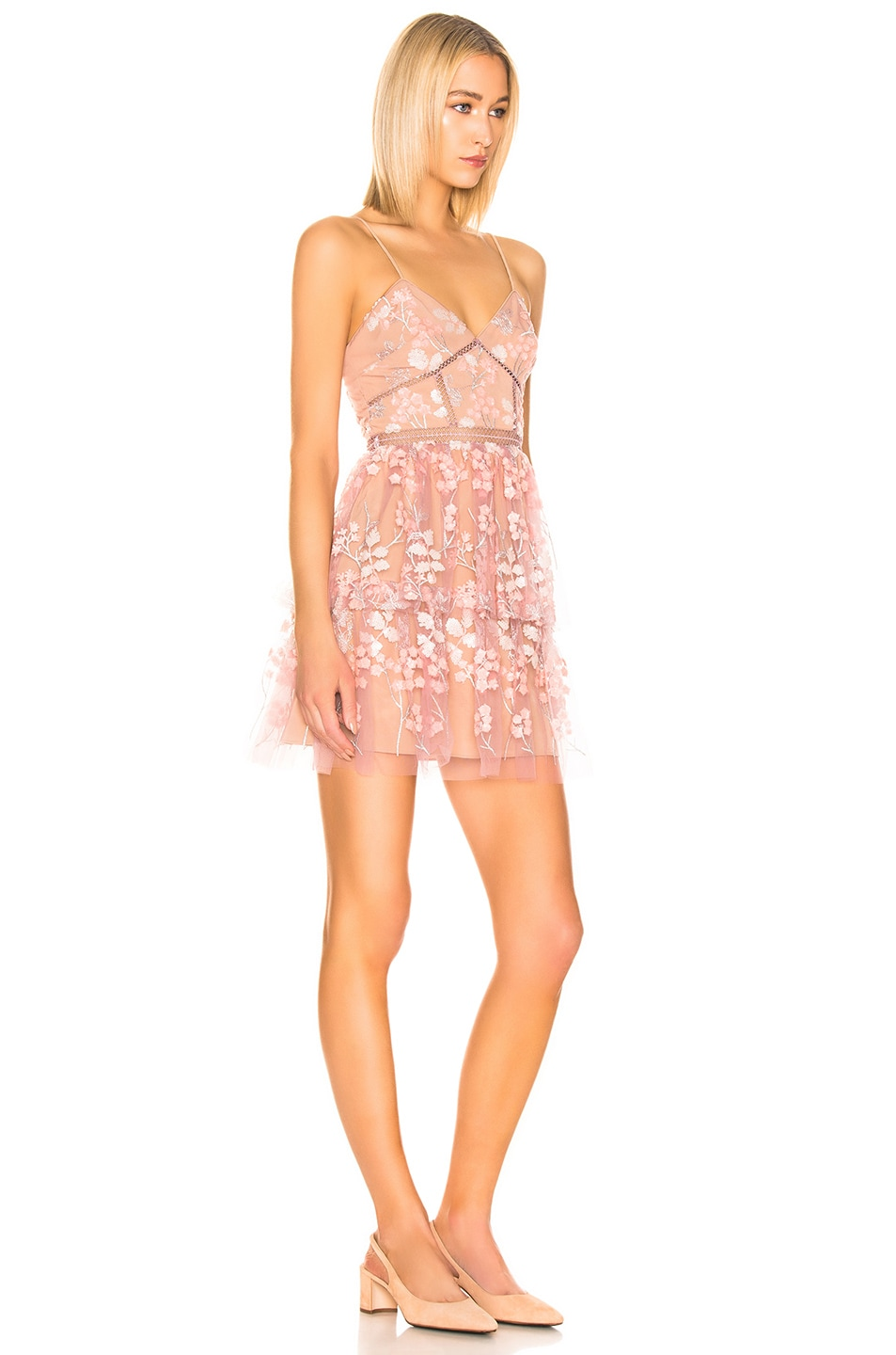 Image 2 of self-portrait Floral Embellished Mini Dress in Pink