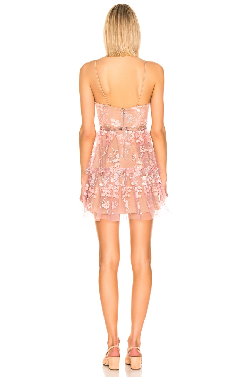Image 3 of self-portrait Floral Embellished Mini Dress in Pink