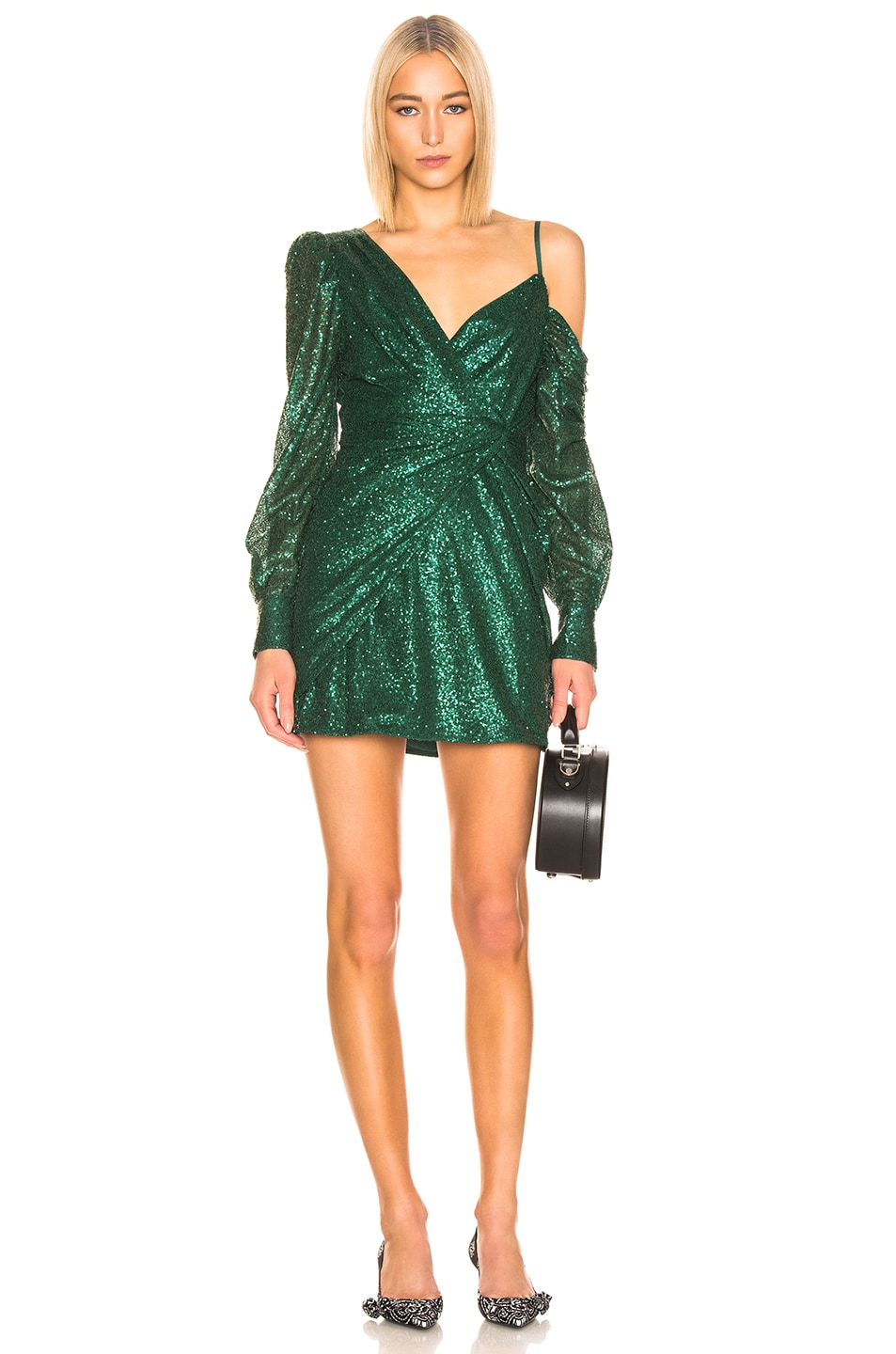 Image 1 of self-portrait for FWRD Asymmetric Sequin Dress in Green