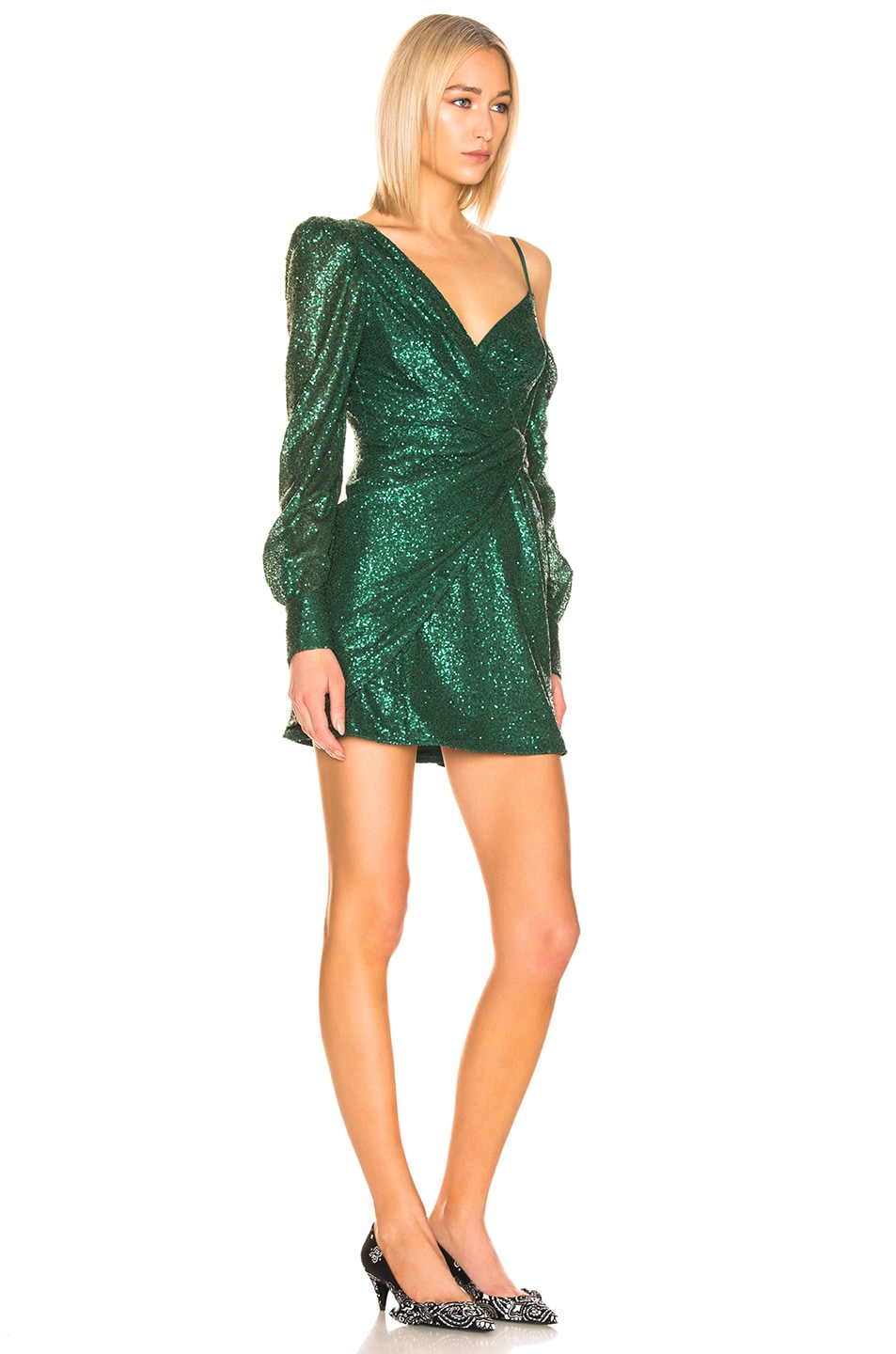 Image 2 of self-portrait for FWRD Asymmetric Sequin Dress in Green