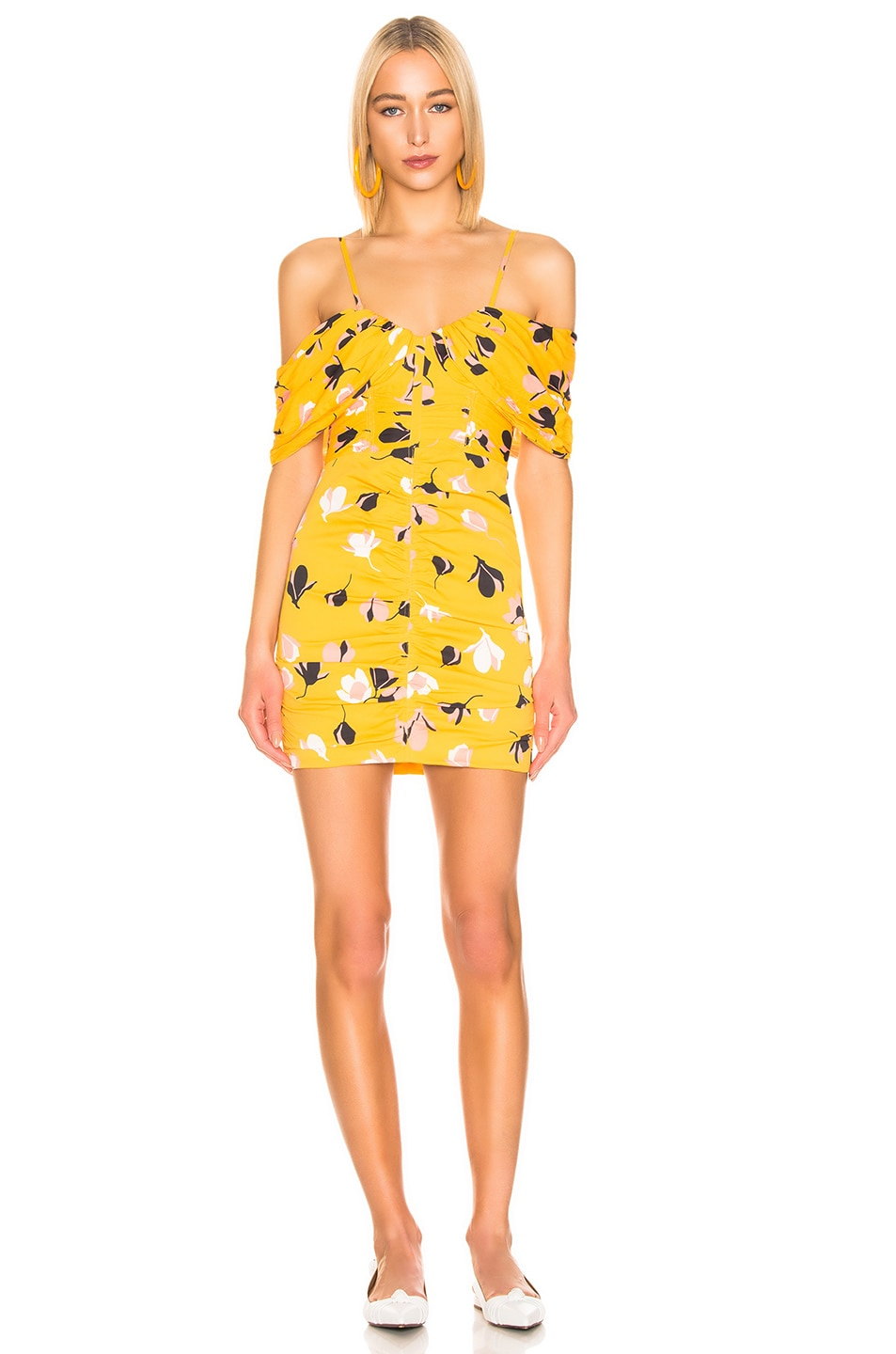 Image 2 of self-portrait for FWRD Off Shoulder Printed Mini Dress in Yellow