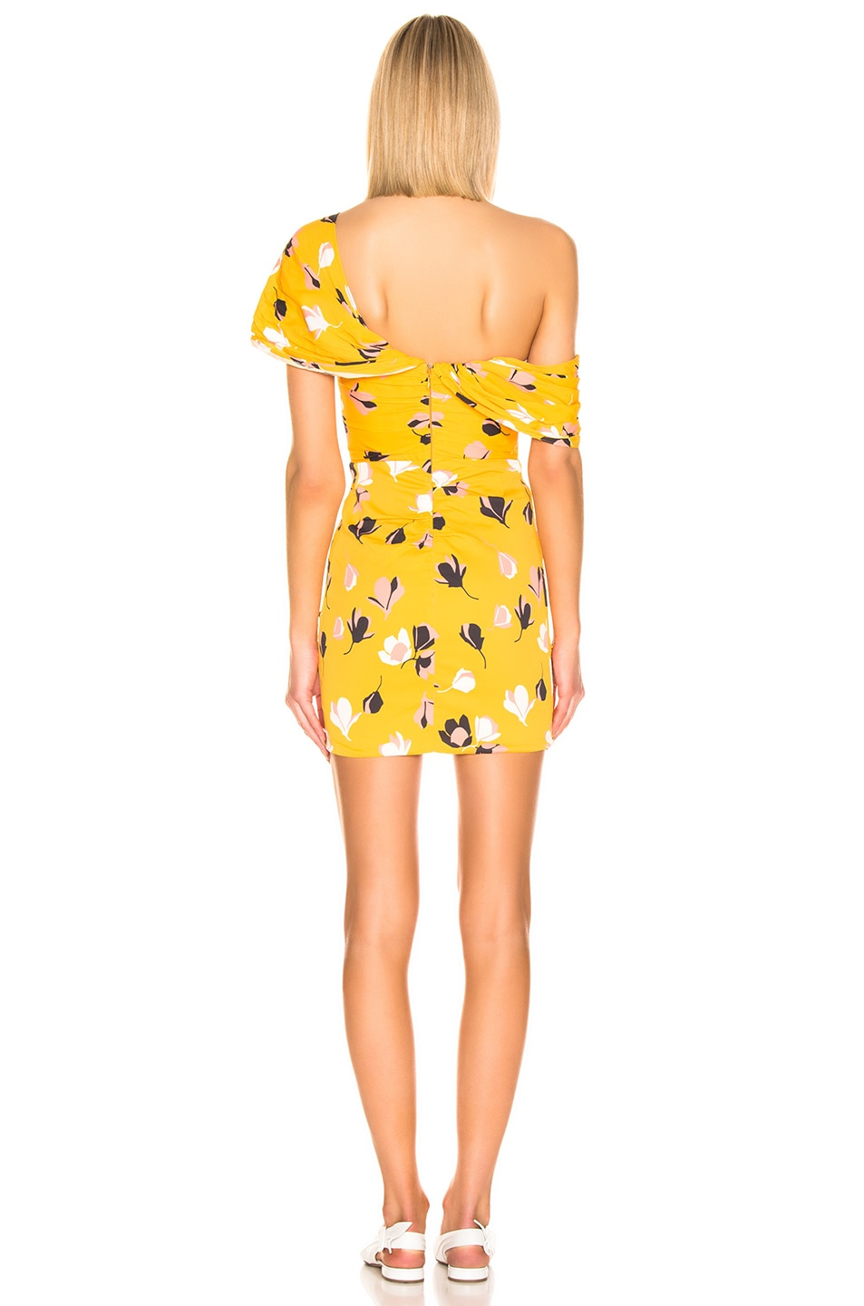 Image 4 of self-portrait for FWRD Off Shoulder Printed Mini Dress in Yellow
