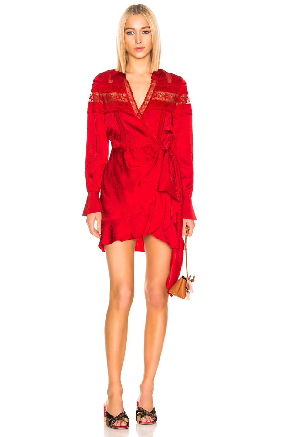 Image 1 of self-portrait Trimmed Wrap Dress in Dark Red