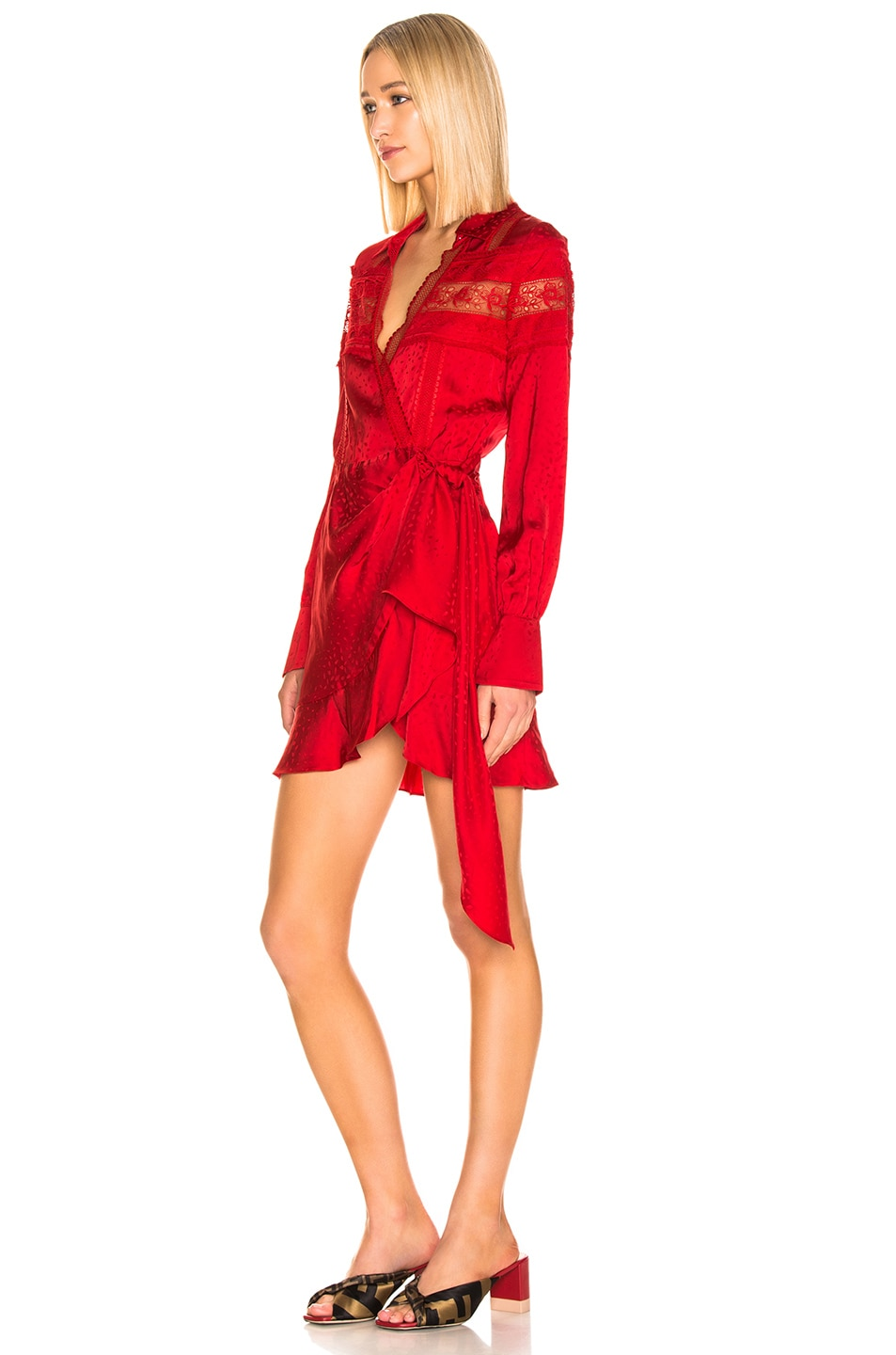 Image 3 of self-portrait Trimmed Wrap Dress in Dark Red