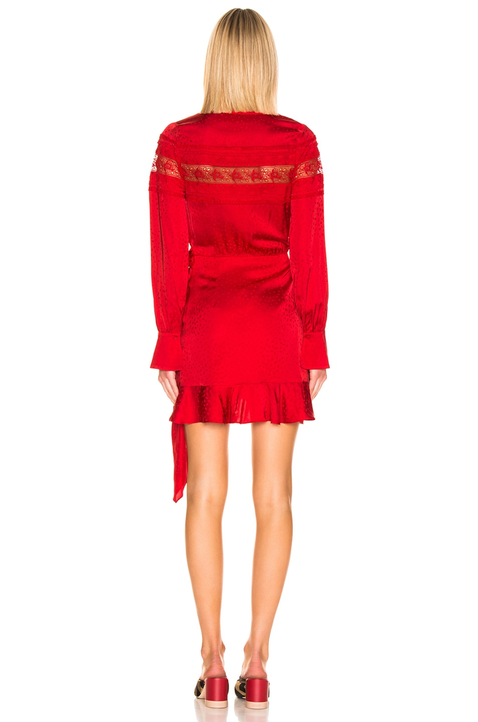 Image 4 of self-portrait Trimmed Wrap Dress in Dark Red