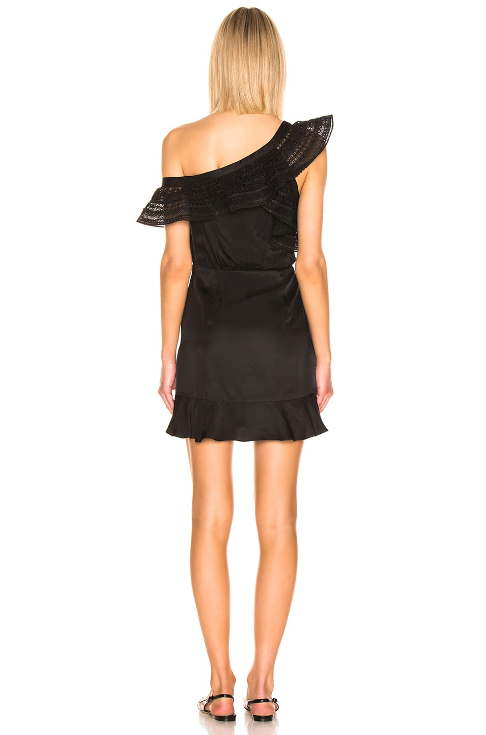 Image 4 of self-portrait One Shoulder Frilled Dress in Black