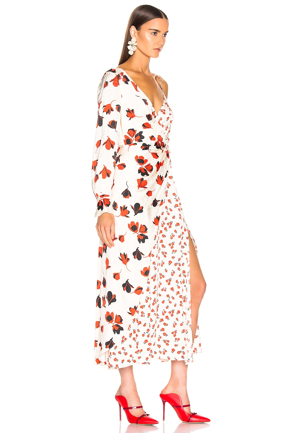 Image 2 of self-portrait Asymmetric Floral Printed Dress in Cream
