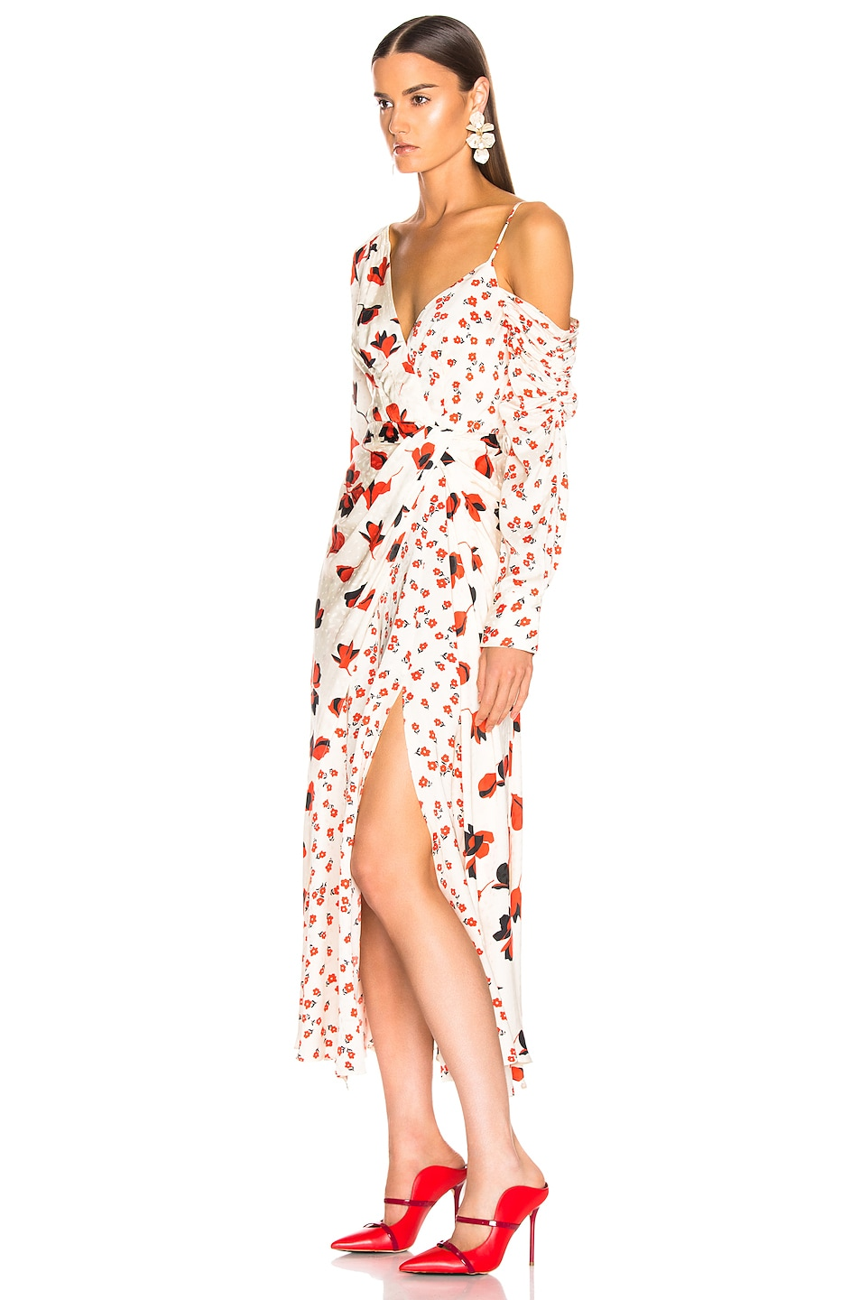 Image 3 of self-portrait Asymmetric Floral Printed Dress in Cream