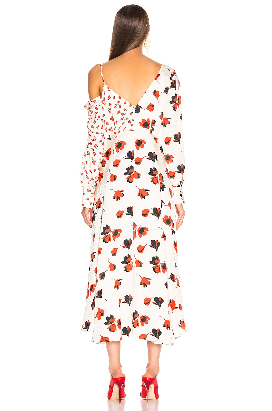 Image 4 of self-portrait Asymmetric Floral Printed Dress in Cream